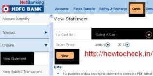 Check HDFC Credit Card Statement Online at hdfcbank com
